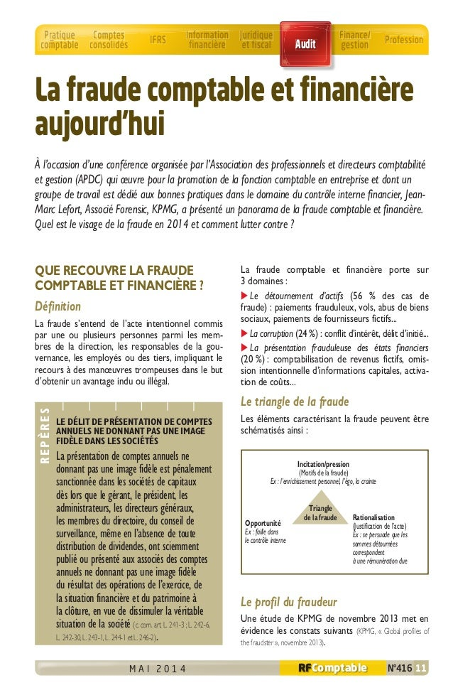 M A I 2 0 1 4 N°416 11RFComptable Incitation/pression (Motifs de la fraude) Ex : l'enrichissement personnel, l'égo, la cra...