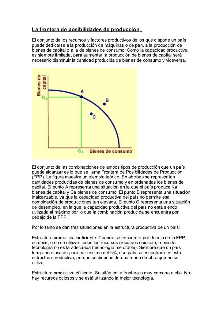 La frontera de posibilidades de producción El conjunto de los recursos y factores productivos de los que dispone un país p...
