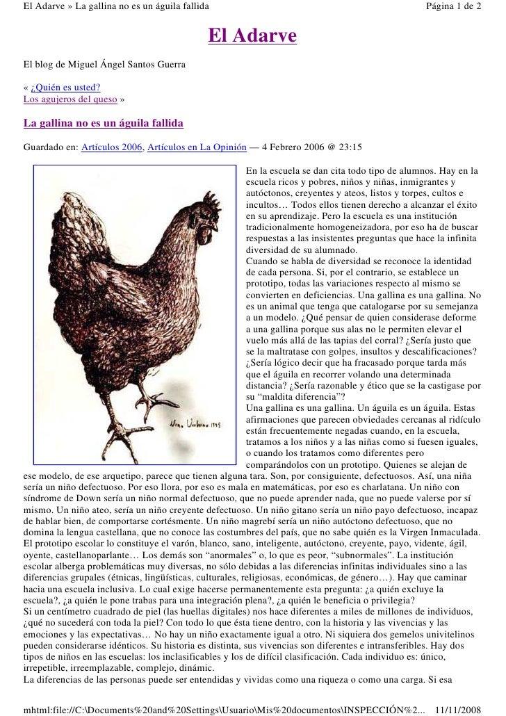 El Adarve » La gallina no es un águila fallida                                                        Página 1 de 2       ...