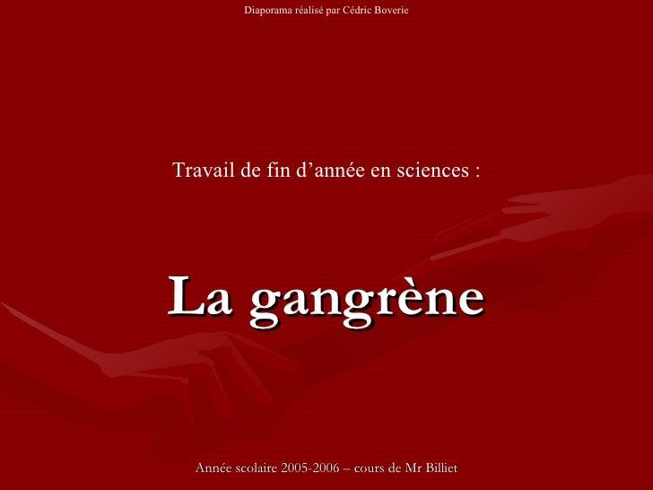La gangrène Année scolaire 2005-2006 – cours de Mr Billiet Travail de fin d'annéeen sciences : Diaporama réalisé par Cédr...