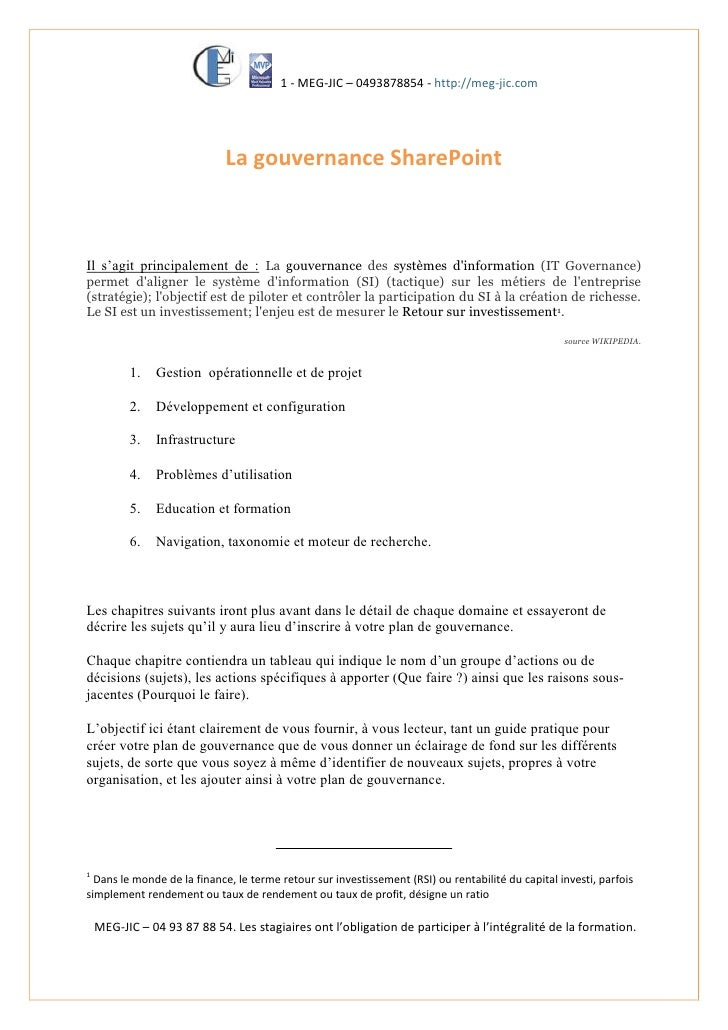 1 - MEG-JIC – 0493878854 - http://meg-jic.com                                  La gouvernance SharePoint    Il s'agit prin...