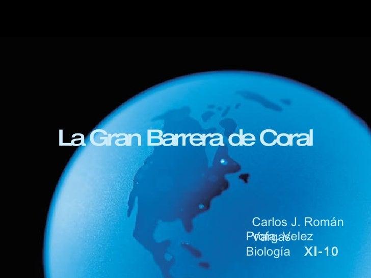 La Gran Barrera de Coral Carlos J. Román Vargas Profa. Velez Biología  XI-10