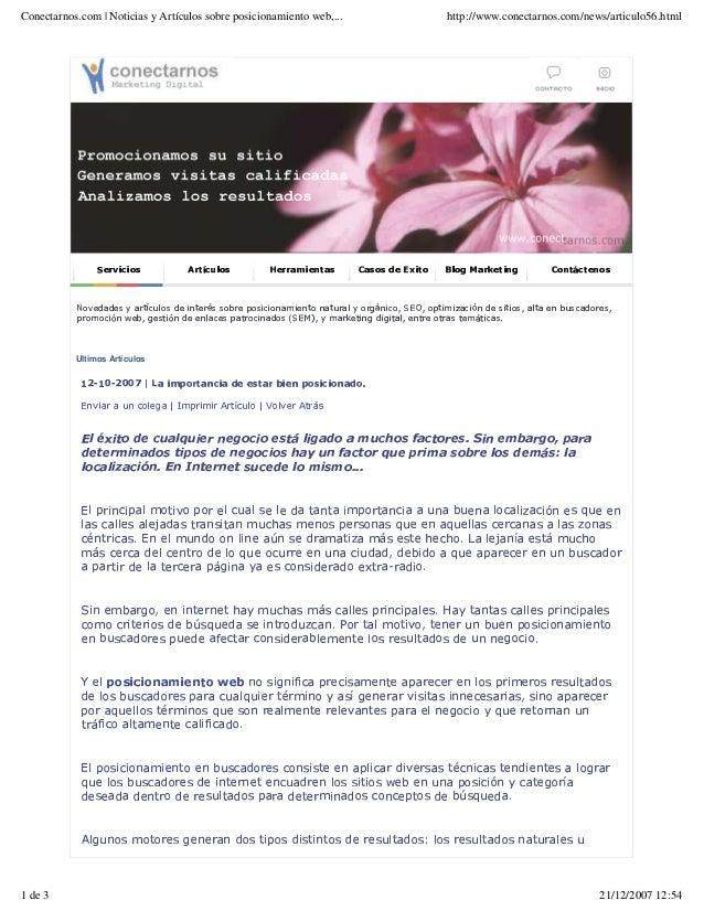 Conectarnos.com | Noticias y Artículos sobre posicionamiento web,... http://www.conectarnos.com/news/articulo56.html 1 de ...