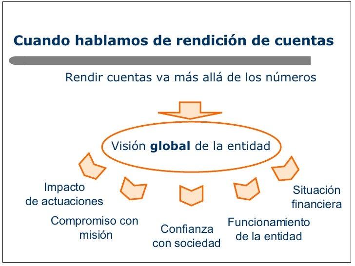 Cuando hablamos de rendición de cuentas <ul><li>Rendir cuentas va más allá de los números </li></ul><ul><li>Visión  global...