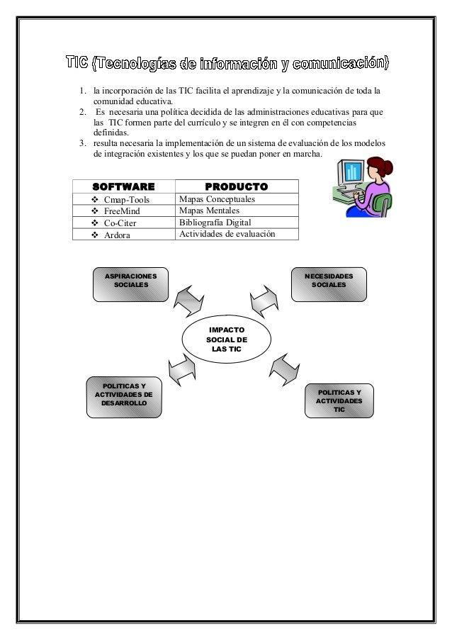 1. la incorporación de las TIC facilita el aprendizaje y la comunicación de toda la comunidad educativa. 2. Es necesaria u...