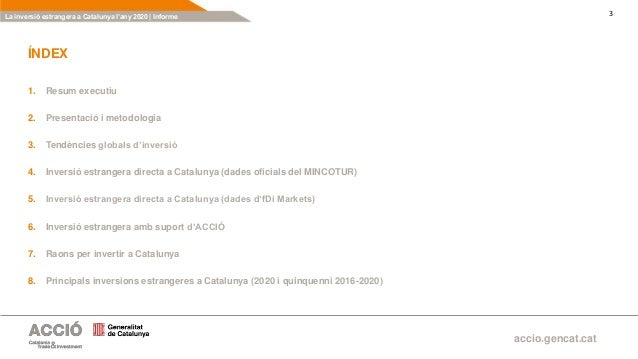 La inversió estrangera a Catalunya 2020 Slide 3