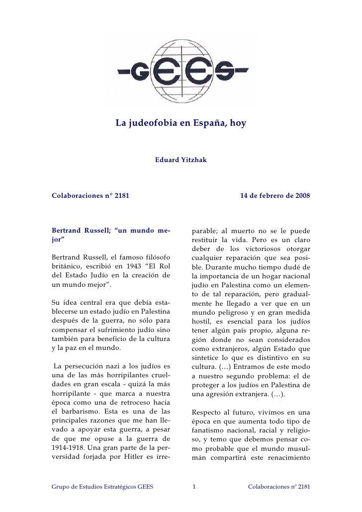 La judeofobia en España, hoy                                         Eduard Yitzhak    Colaboraciones nº 2181             ...