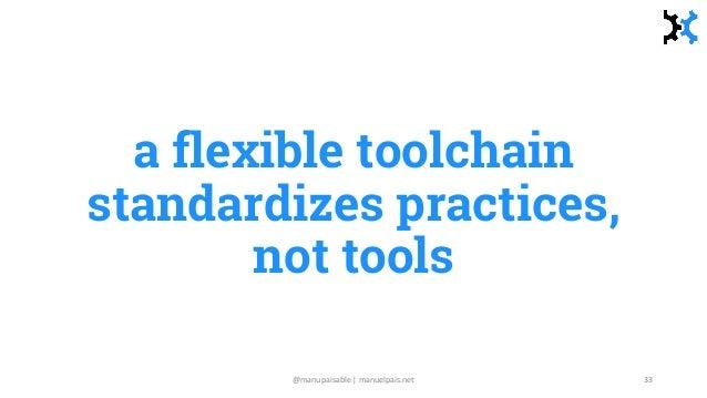 a flexible toolchain standardizes practices, not tools @manupaisable | manuelpais.net 33