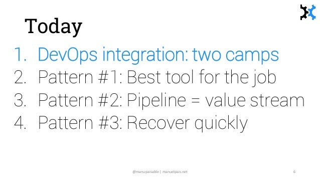 Today 1. DevOps integration: two camps 2. Pattern #1: Best tool for the job 3. Pattern #2: Pipeline = value stream 4. Patt...