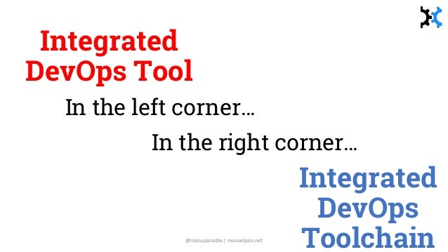 Integrated DevOps Tool In the left corner… @manupaisable | manuelpais.net 8 Integrated DevOps Toolchain In the right corne...