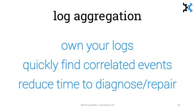 log aggregation own your logs quickly find correlated events reduce time to diagnose/repair @manupaisable | manuelpais.net...