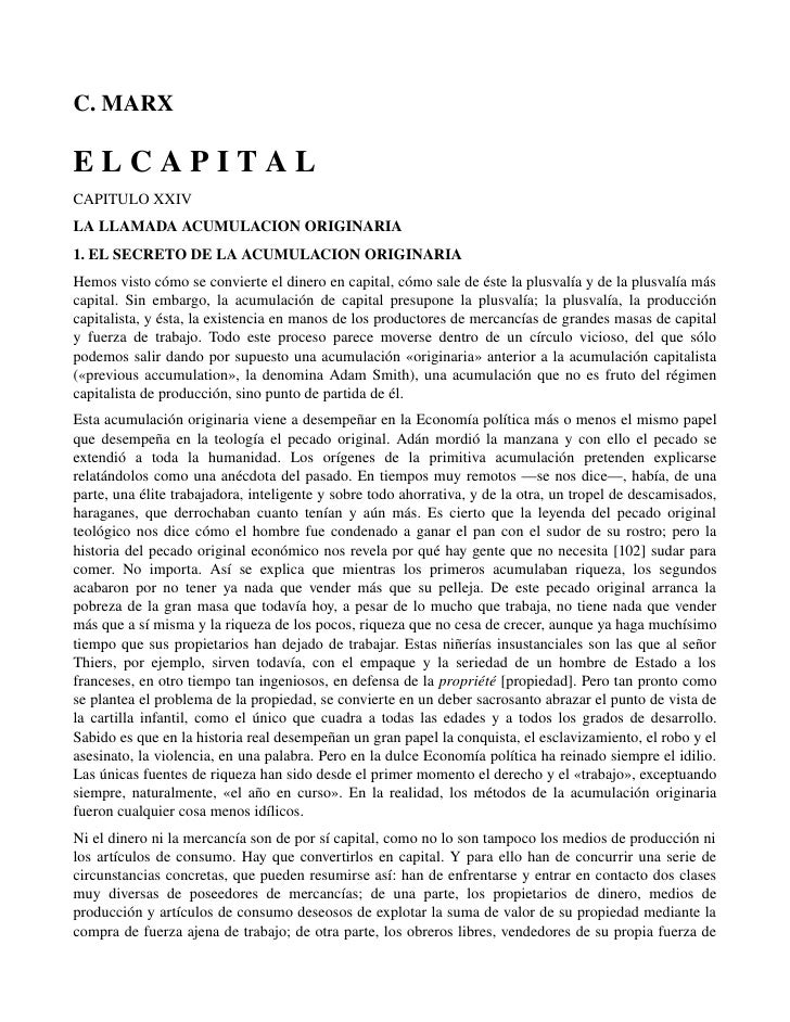 C.MARXELCAPITALCAPITULOXXIVLALLAMADAACUMULACIONORIGINARIA1.ELSECRETODELAACUMULACIONORIGINARIAHemosvist...