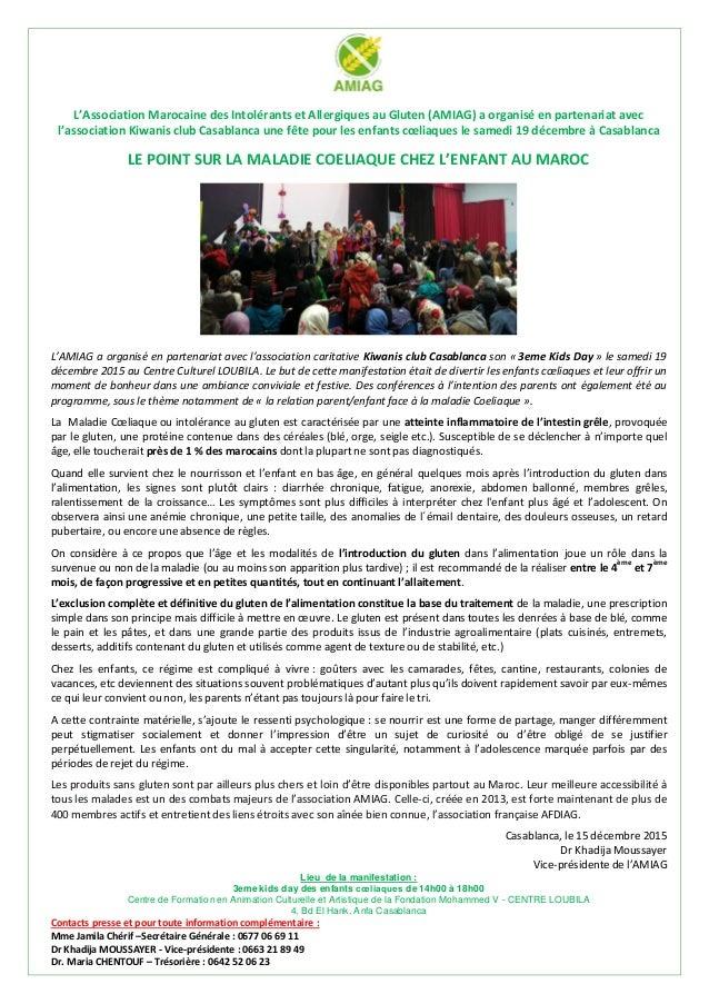 L'Association Marocaine des Intolérants et Allergiques au Gluten (AMIAG) a organisé en partenariat avec l'association Kiwa...