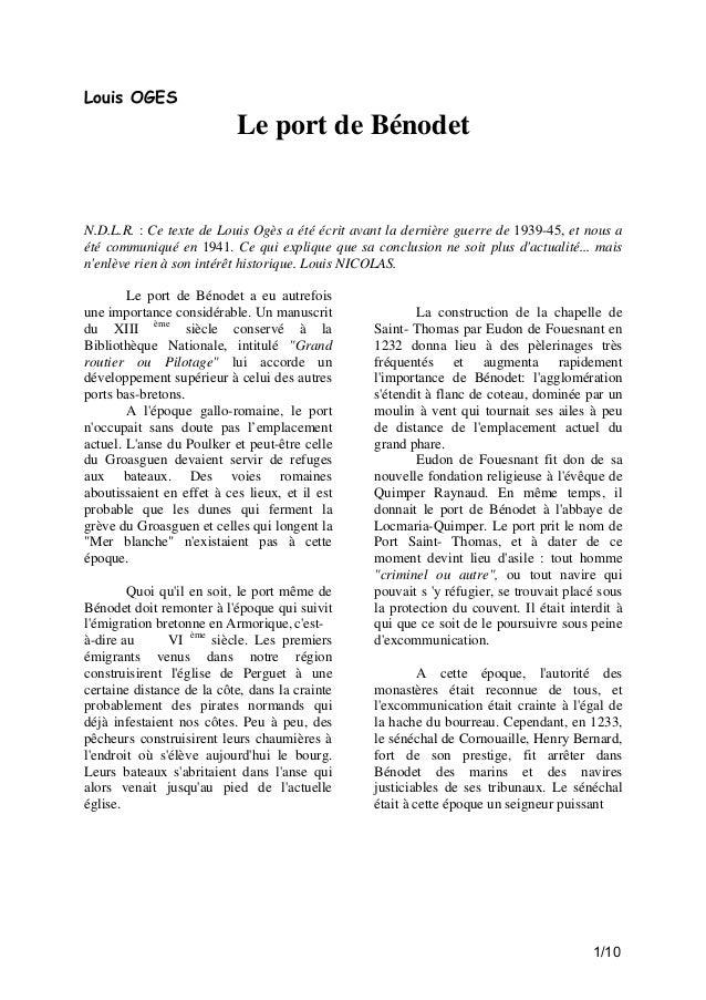 Louis OGES  Le port de Bénodet  N.D.L.R. : Ce texte de Louis Ogès a été écrit avant la dernière guerre de 1939-45, et nous...
