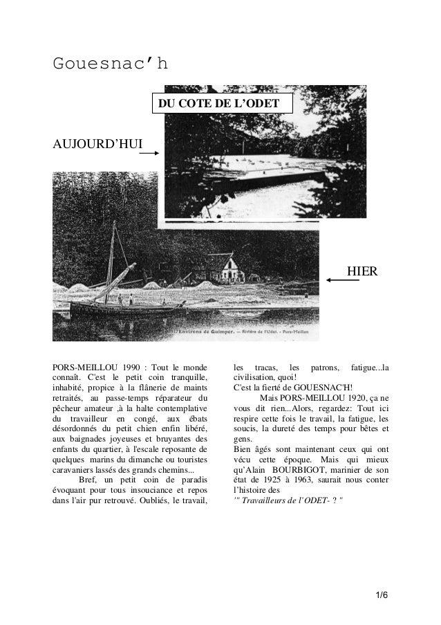 Gouesnac'h DU COTE DE L'ODET  AUJOURD'HUI  HIER  PORS-MEILLOU 1990 : Tout le monde connaît. C'est le petit coin tranquille...
