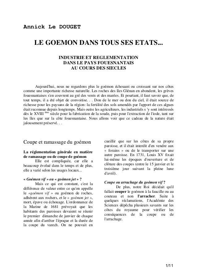 Annick Le DOUGET  LE GOEMON DANS TOUS SES ETATS... INDUSTRIE ET REGLEMENTATION DANS LE PAYS FOUESNANTAIS AU COURS DES SIEC...