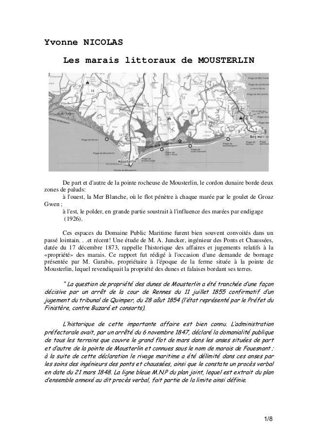 Yvonne NICOLAS Les marais littoraux de MOUSTERLIN  De part et d'autre de la pointe rocheuse de Mousterlin, le cordon dunai...