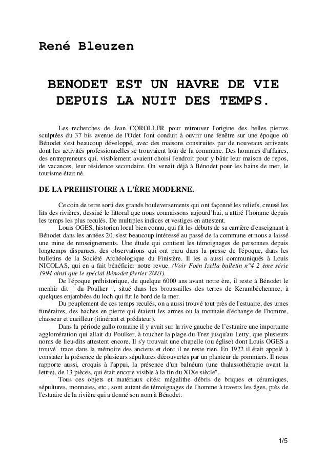 René Bleuzen  BENODET EST UN HAVRE DE VIE DEPUIS LA NUIT DES TEMPS. Les recherches de Jean COROLLER pour retrouver l'origi...