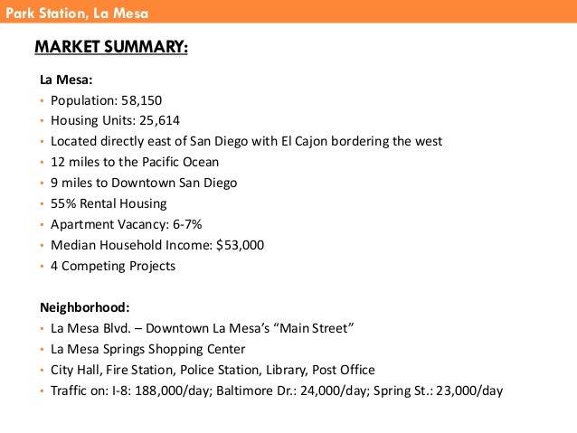 MARKET SUMMARY: La Mesa: • Population: 58,150 • Housing Units: 25,614 • Located directly east of San Diego with El Cajon b...