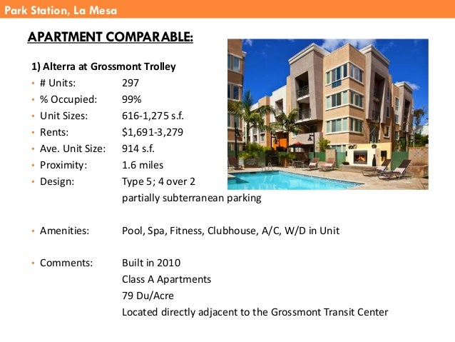 APARTMENT COMPARABLE: 1) Alterra at Grossmont Trolley • # Units: 297 • % Occupied: 99% • Unit Sizes: 616-1,275 s.f. • Rent...