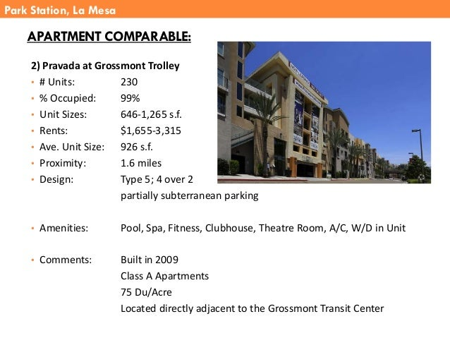2) Pravada at Grossmont Trolley • # Units: 230 • % Occupied: 99% • Unit Sizes: 646-1,265 s.f. • Rents: $1,655-3,315 • Ave....