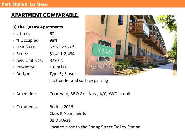 3) The Quarry Apartments • # Units: 60 • % Occupied: 98% • Unit Sizes: 629-1,276 s.f. • Rents: $1,411-2,494 • Ave. Unit Si...