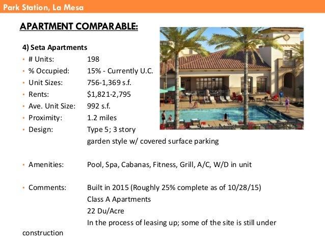 4) Seta Apartments • # Units: 198 • % Occupied: 15% - Currently U.C. • Unit Sizes: 756-1,369 s.f. • Rents: $1,821-2,795 • ...