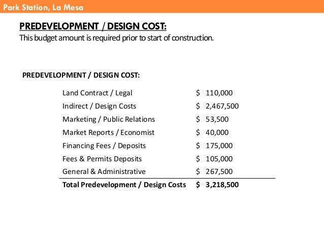 PREDEVELOPMENT / DESIGN COST: Thisbudgetamountisrequiredpriortostartofconstruction. PREDEVELOPMENT / DESIGN COST: Park Sta...