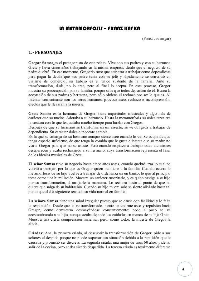 4 LA METAMORFOSIS – FRANZ KAFKA (Proc.: Javlangar) 1.- PERSONAJES Gregor Samsa es el protagonista de este relato. Vive con...