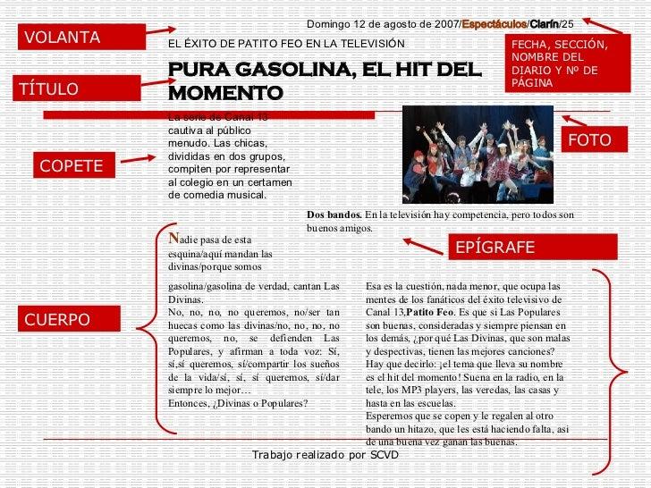 Partes De La Noticia Textos Periodísticos La Noticia