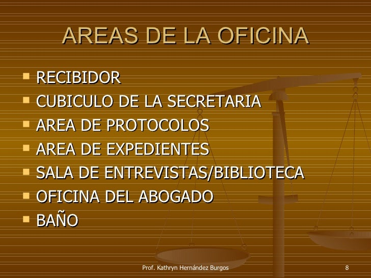 La oficina legal for Areas de una oficina