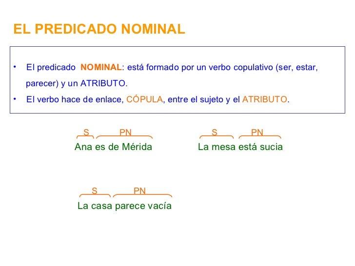 EL PREDICADO NOMINAL Ana es de Mérida PN S <ul><li>El predicado  NOMINAL : está formado por un verbo copulativo (ser, esta...