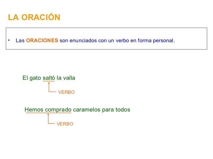 LA ORACIÓN <ul><li>Las  ORACIONES  son enunciados con un verbo en forma personal. </li></ul>El gato saltó la valla VERBO H...