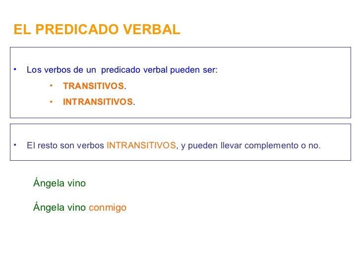EL PREDICADO VERBAL <ul><li>Los verbos de un  predicado verbal pueden ser: </li></ul><ul><ul><ul><li>TRANSITIVOS . </li></...
