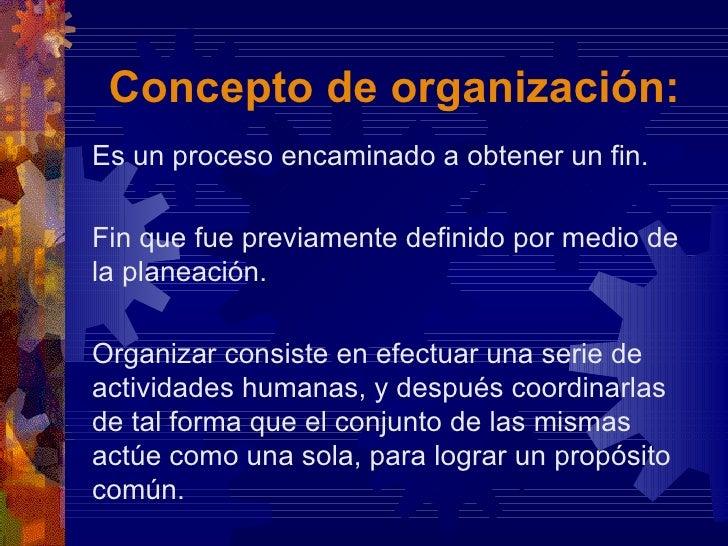 La organizacion i for Concepto de organizacion de oficina