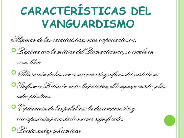 La palabra tiene la palabra for Caracteristicas del vanguardismo