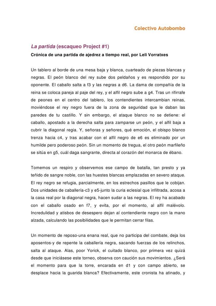 Colectivo Autobombo   La partida (escaqueo Project #1) Crónica de una partida de ajedrez a tiempo real, por Leli Vorratxes...