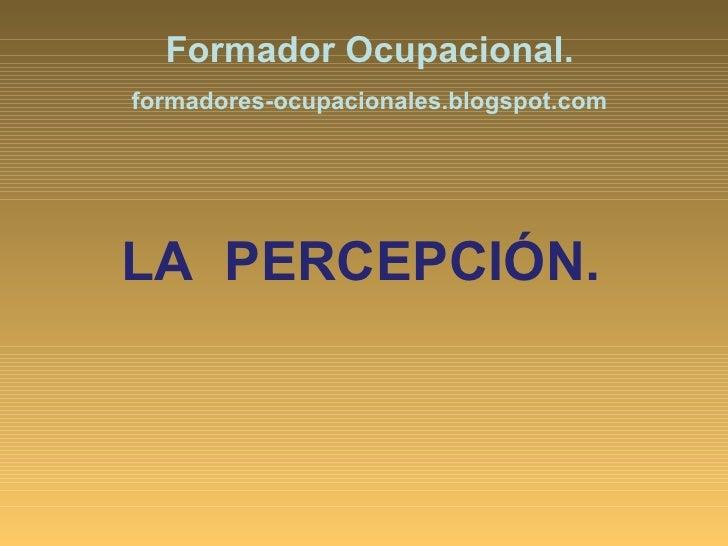 LA  PERCEPCIÓN. Formador Ocupacional. formadores-ocupacionales.blogspot.com