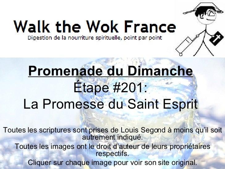 Promenade du Dimanche Étape  #201: La Promesse du Saint Esprit Toutes les scriptures sont prises de Louis Segond  à moins ...