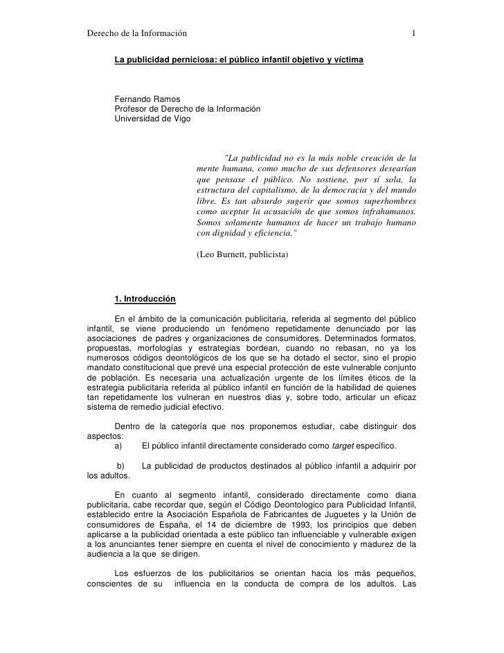 Derecho de la Información                                                               1         La publicidad perniciosa...