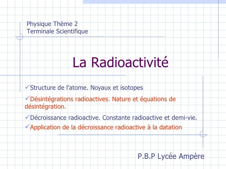 La Radioactivité <ul><li>Structure de l'atome. Noyaux et isotopes </li></ul>Physique Thème 2 Terminale Scientifique <ul><l...