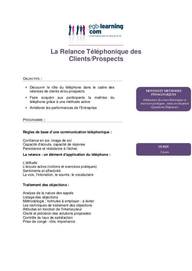 La Relance Téléphonique des Clients/Prospects OBJECTIFS : • Découvrir le rôle du téléphone dans le cadre des relances de c...