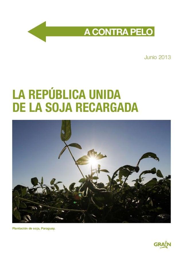 LA REPÚBLICA UNIDA DE LA SOJA RECARGADA Junio 2013 Plantación de soja, Paraguay.