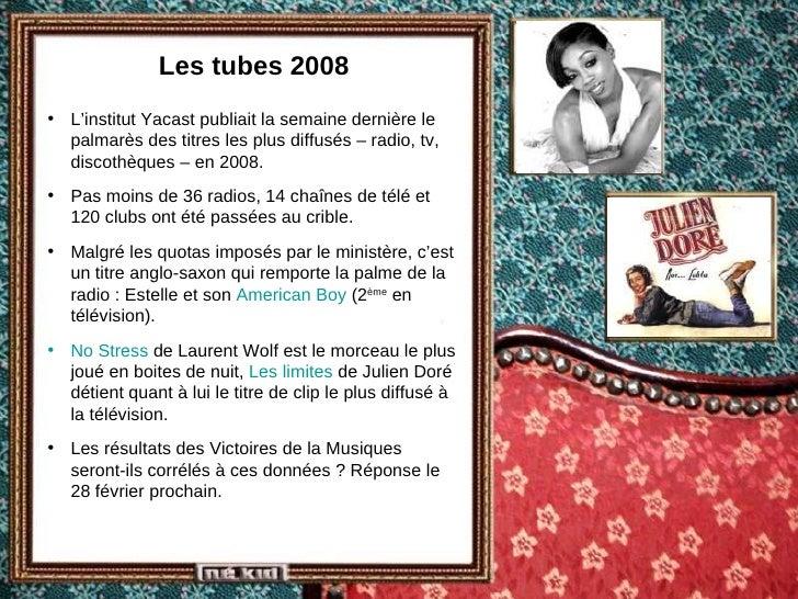 Les tubes 2008 <ul><li>L'institut Yacast publiait la semaine dernière le palmarès des titres les plus diffusés – radio, tv...