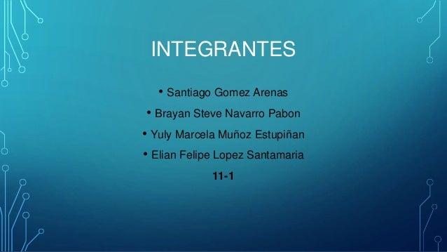 INTEGRANTES • Santiago Gomez Arenas • Brayan Steve Navarro Pabon • Yuly Marcela Muñoz Estupiñan • Elian Felipe Lopez Santa...