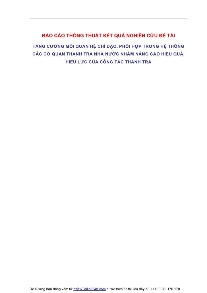 BÁO CÁO THỔNG THUẬT KẾT QUẢ NGHIÊN CỨU ĐỀ TÀI   TĂNG CƯỜNG MỐI QUAN HỆ CHỈ ĐẠO, PHỐI HỢP TRONG HỆ THỐNG  CÁC CƠ QUAN THANH...