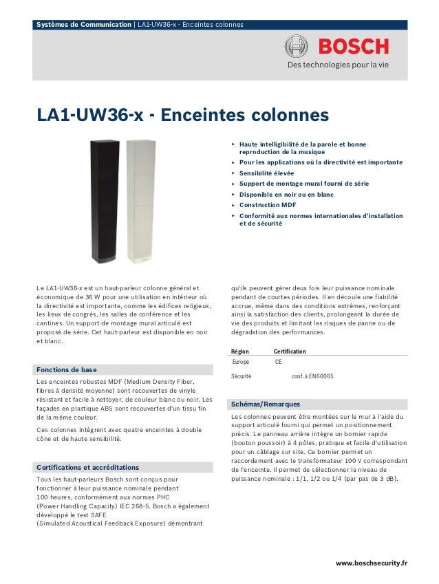 Systèmes de Communication | LA1-UW36-x - Enceintes colonnesLA1-UW36-x - Enceintes colonnes                                ...