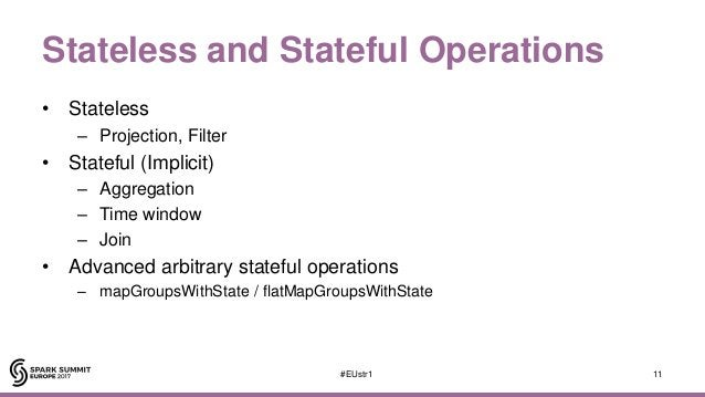 Stateless and Stateful Operations • Stateless – Projection, Filter • Stateful (Implicit) – Aggregation – Time window – Joi...