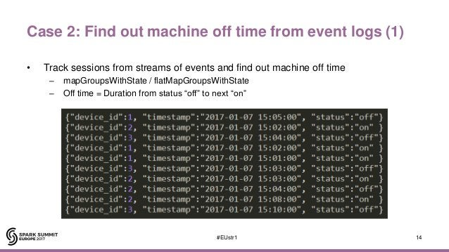 Case 2: Find out machine off time from event logs (1) • Track sessions from streams of events and find out machine off tim...