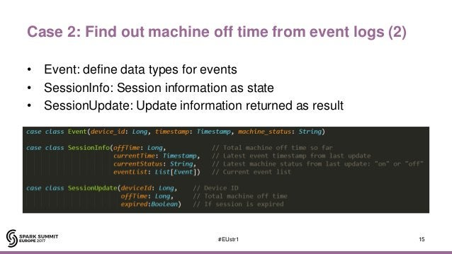 Case 2: Find out machine off time from event logs (2) • Event: define data types for events • SessionInfo: Session informa...